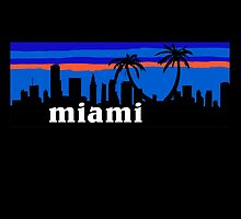 Miami Florida palm trees, skyline silhouette by mustbtheweather