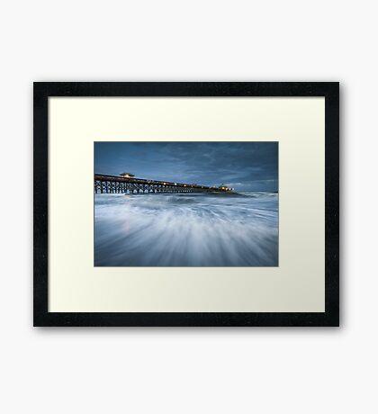 Folly Beach Blues - Folly Beach Pier Charleston SC Framed Print