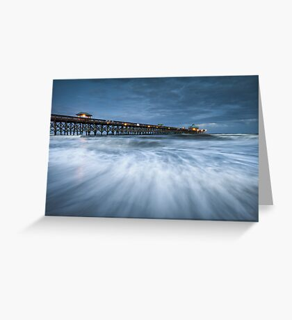 Folly Beach Blues - Folly Beach Pier Charleston SC Greeting Card