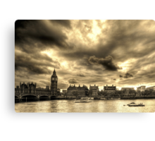 The Thames in Sepia Canvas Print