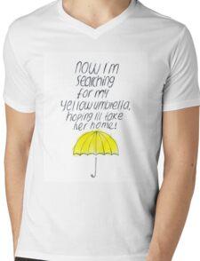 Yellow Umbrella Mens V-Neck T-Shirt