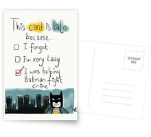 A belated card with the perfect excuse.  Postcards