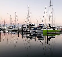 reflected masts by Anne Scantlebury