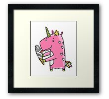 Unicorn and ice cream Framed Print