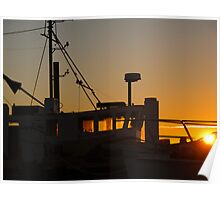 boat silhouetted Poster