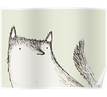Gray Fluffy Wolf Poster