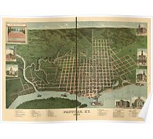 Panoramic Maps Bird's eye view of Paducah Kentucky 1889 Poster