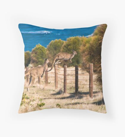 Flying kangaroos Throw Pillow