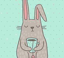 Bunny Tea lover by Anna Alekseeva