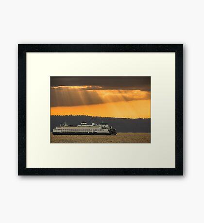 Sun Rays over Puget Sound Framed Print