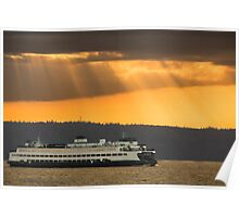 Sun Rays over Puget Sound Poster