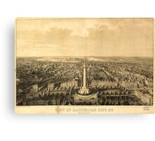 Panoramic Maps View of Baltimore City Md from the North  lith  print by E Sachse  Co Canvas Print