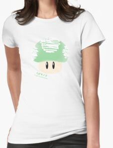 1-UP mushroom -scribble- Womens Fitted T-Shirt