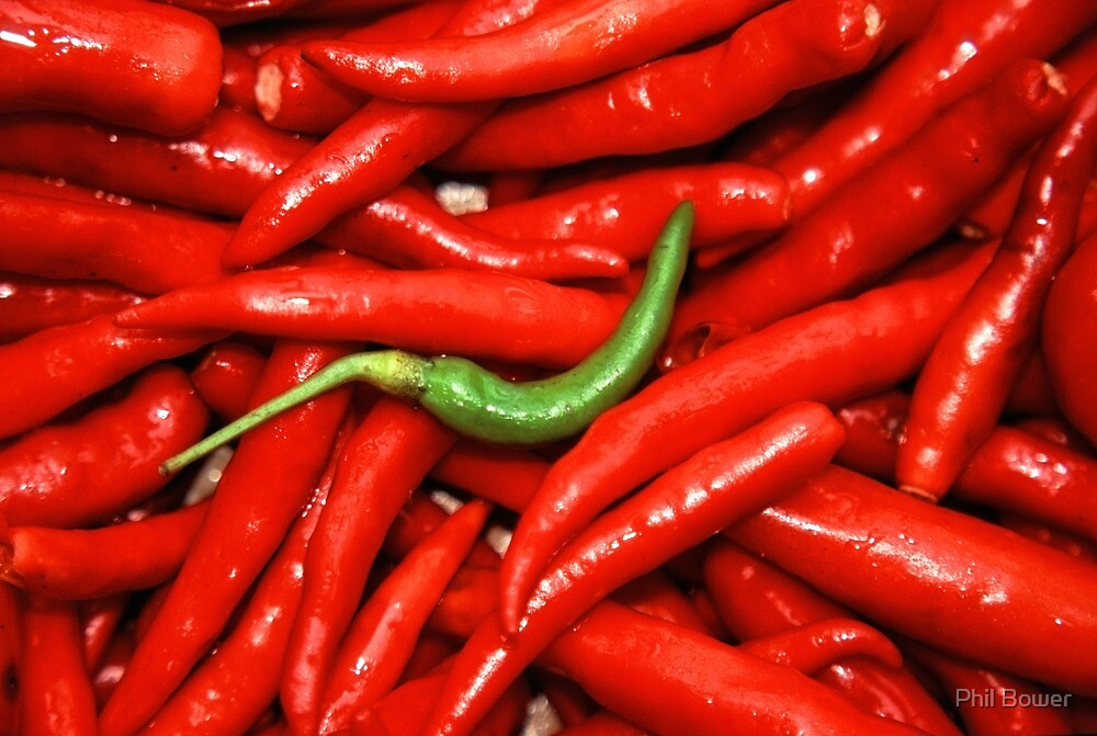 Green on red Chilli. by Phil Bower
