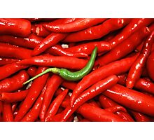 Green on red Chilli. Photographic Print