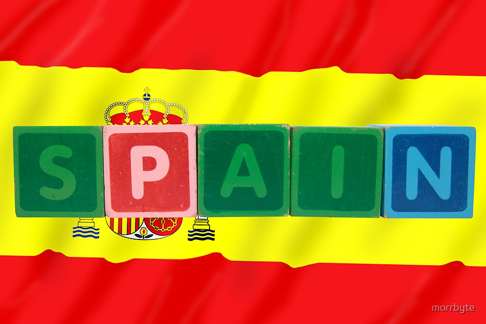 spain and flag in toy block letters by morrbyte