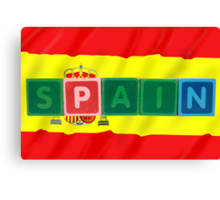 spain and flag in toy block letters Canvas Print