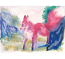 Kitsune On a Mountain Watercolor Photographic Print