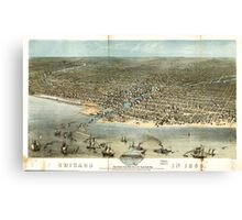Panoramic Maps Chicago in 1868 from Schiller Street north side to 12th Street south side Canvas Print