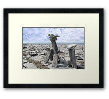 standing boulders in rocky burren landscape Framed Print