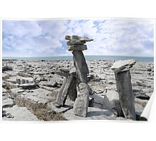 standing boulders in rocky burren landscape Poster