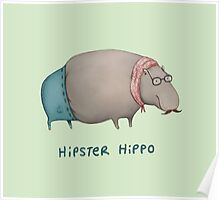 Hipster Hippo Poster
