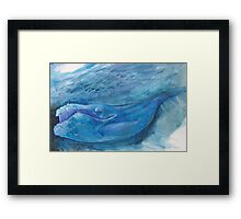 Blue Watercolor Whale Framed Print