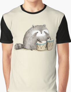 Raccoon on Bongos Graphic T-Shirt