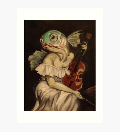 Seated Fish With Violin Art Print