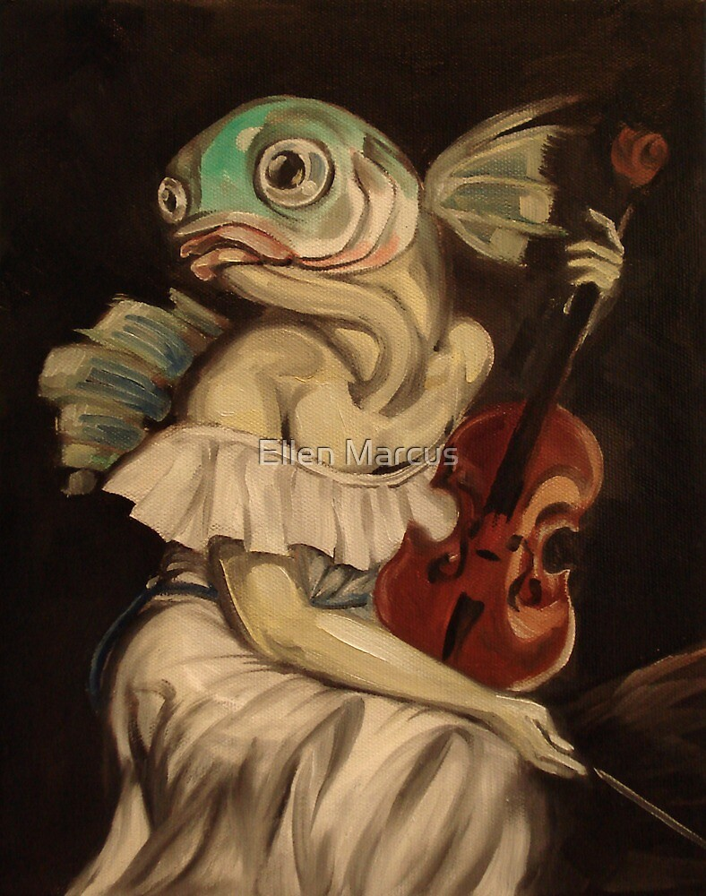 Seated Fish With Violin by Ellen Marcus