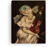 Seated Fish With Violin Canvas Print