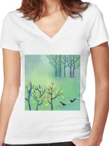 April Women's Fitted V-Neck T-Shirt