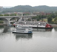 Southern Belle and Delta Queen At Walnut Street Bridge by ack1128