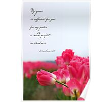 My Grace is Sufficient - Pink Tulip (Card) Poster