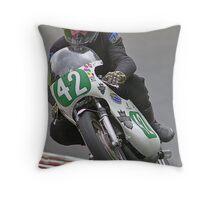 Vintage motorbike racing Bike42 Throw Pillow
