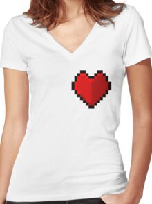 Pixel heart - I love retro Women's Fitted V-Neck T-Shirt