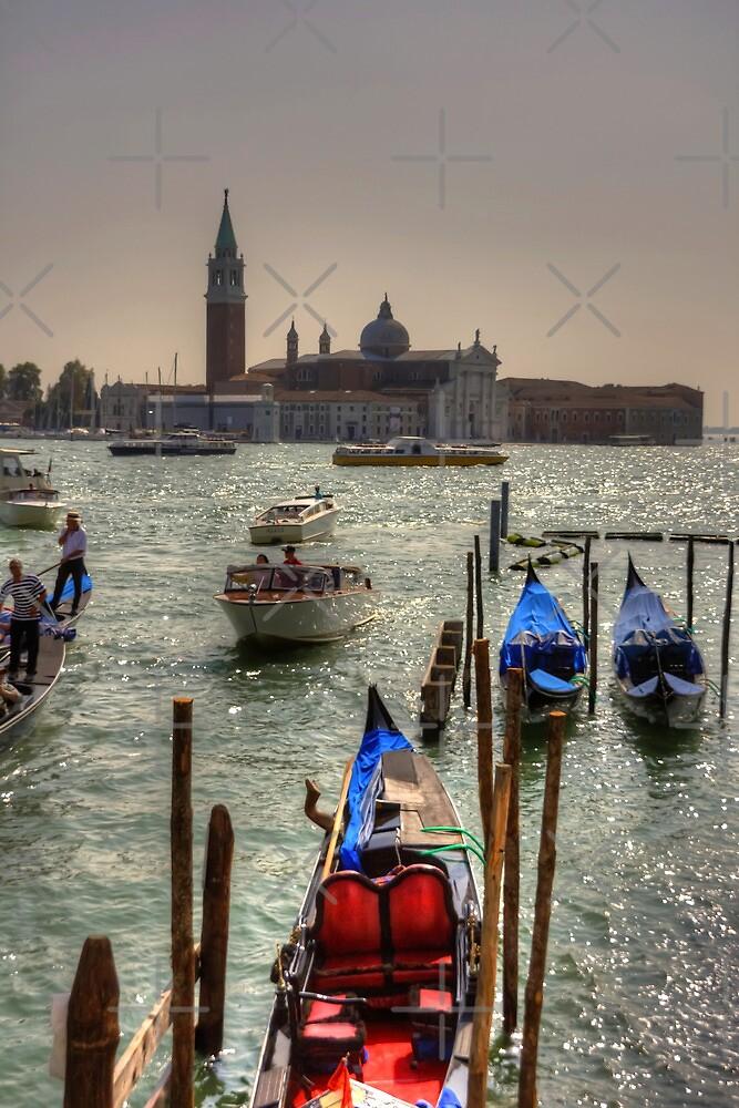 Gondolas in front of San Giorgio Maggiore by Tom Gomez