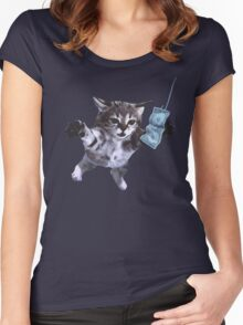 Funny grunge cat Women's Fitted Scoop T-Shirt