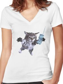 Funny grunge cat Women's Fitted V-Neck T-Shirt
