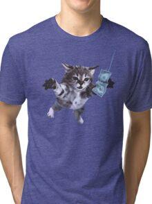 Funny grunge cat Tri-blend T-Shirt