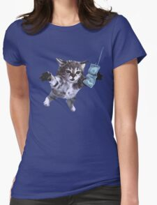 Funny grunge cat Womens Fitted T-Shirt