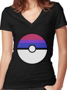 "Pokeball ""Bisexual Ball"" LGBTQ Shirt/etc Women's Fitted V-Neck T-Shirt"