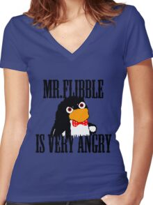 Mr.flibble is very angry Women's Fitted V-Neck T-Shirt