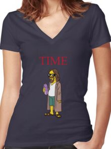 Dude of the year. Women's Fitted V-Neck T-Shirt