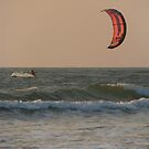 Kitesurfing at Sunset Mandrem by SerenaB