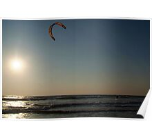 Kitesurfing at Sunset Mandrem Poster