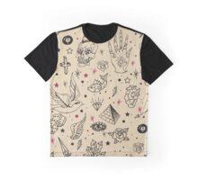 Hand Drawn Flash Tattoo Pattern Graphic T-Shirt