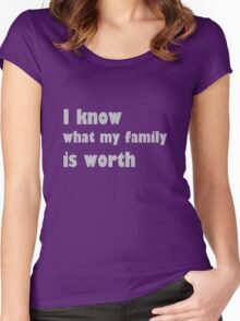 i know what my family is worth Women's Fitted Scoop T-Shirt