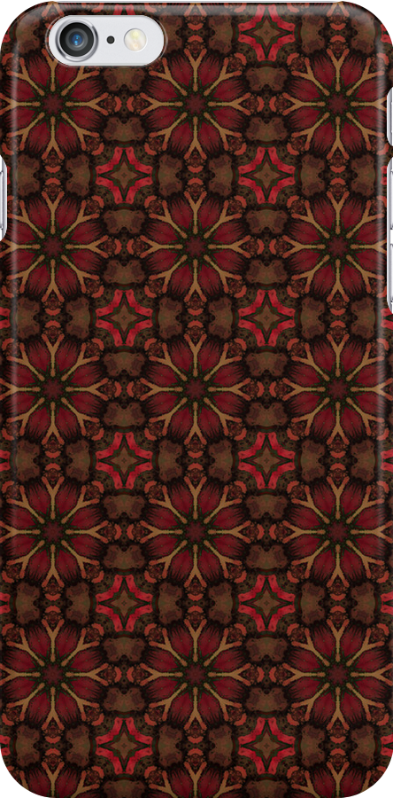 Burgundy Patterned Iphone cover by Pendraia