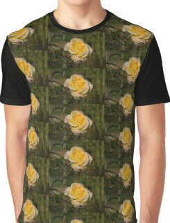 Golden Yellow Sparkles - a Fresh Rose With Dewdrops Graphic T-Shirt